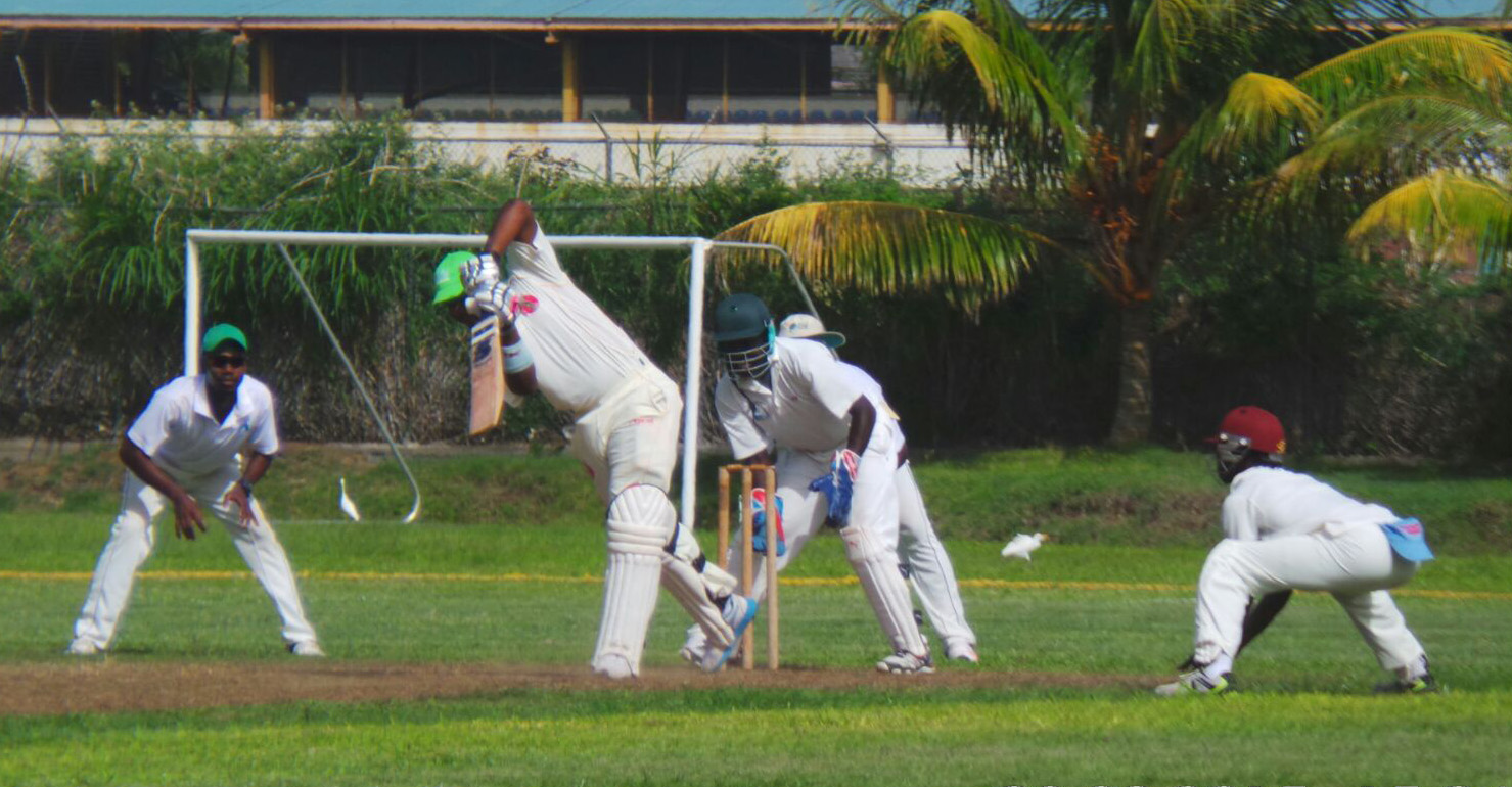 Dominica's Jelarni Robinson drives during his unbeaten 81 against St. Lucia at the Sion Hill Playing Field. (Photo: E. Glenford Prescott)