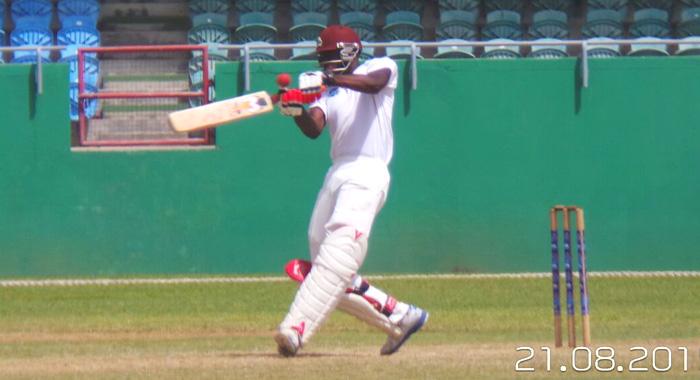 Kenneth Dember pulls during his innings of 77. (Photo: E. Glenford Prescott)