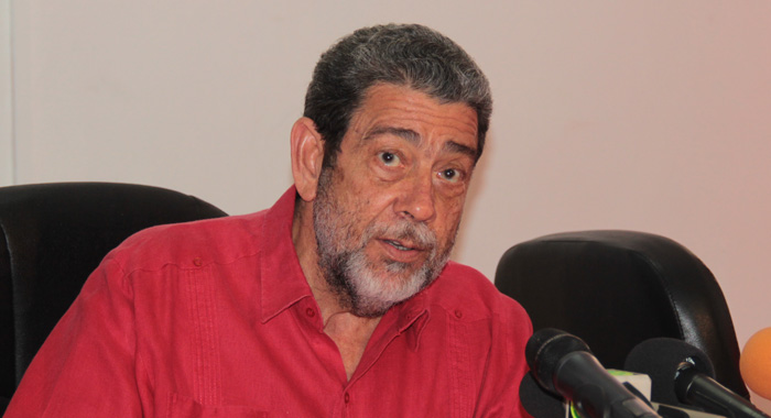 Political Leader of the ULP, Prime Minister Dr. Ralph Gonsalves speaks at the ULP press conference on Wednesday. (IWN photo)