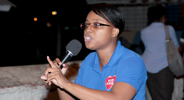 Leader and founder of the DRP and West St. George candidate Anesia Baptiste addressing the rally Thursday night. (IWN photo)