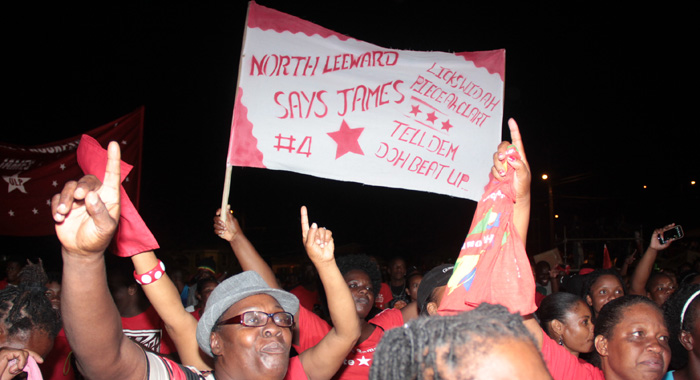 Carlos James supporters at the ULP rally in Chateaubelair on Aug. 30. (IWN photo)