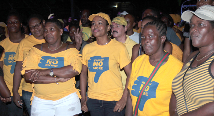 Stephenson's wife, in cap, and other supporters at listen to his speech at the rally on Saturday. (IWN photo)