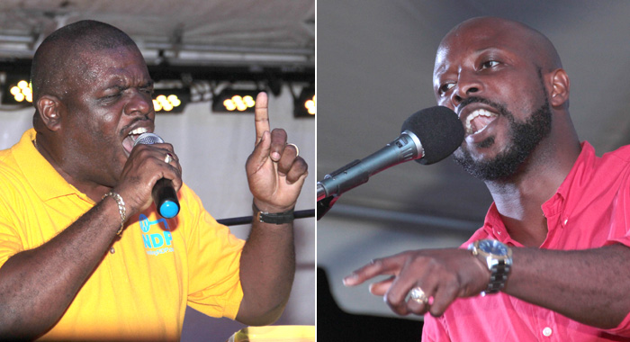 """MP for North Leeward, Roland """"Patel"""" Matthews, left, and his challenger, Carlos James. (IWN photos)"""