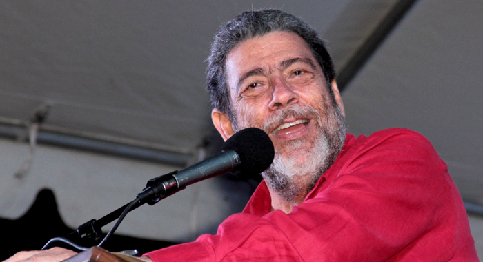 Prime Minister Dr. Ralph Gonsalves addressing the ULP rally in Redemption Sharpes on Sunday. (IWN photo)