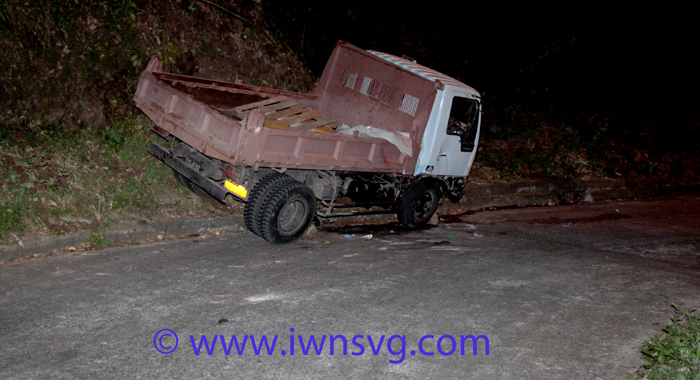 The truck, TQ406, after the accident Saturday night. (IWN photo)