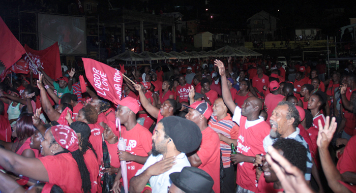 ULP supporters at the rally in Redemption Sharpes Sunday night. (IWN photo)