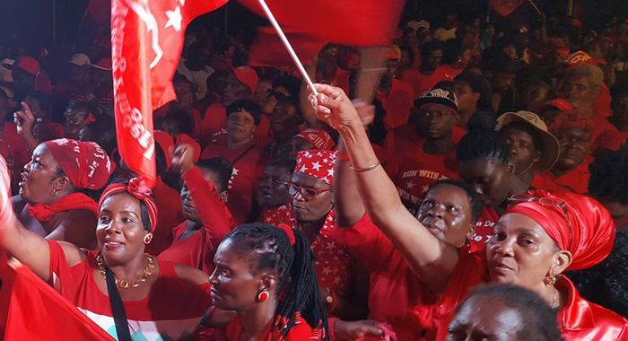 ULP supporters at the rally in Marriaqua on Sunday. (Photo: Lance Neverson/Facebook)