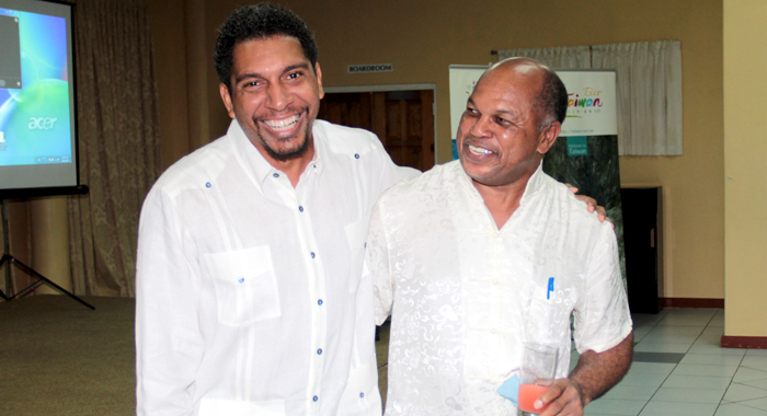 United by Taiwan: East St. George election candidates, Sen. Camillo Gonsalves of the ruling Unity Labour Party and the NDP's Dr. Linton Lewis, who is also a senator, at the Taiwan National Day celebrations last wee. (IWN photo)