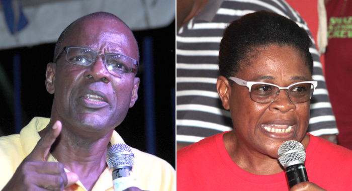 MP for West Kingstown, Daniel Cummings, left and ULP candidate for the constituency, Debbie Charles. (IWN photos)