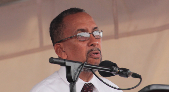 Donald McPhail, director general of ECCAA addressing the ceremony on Thursday. (IWN photo)