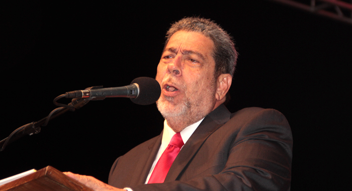 Prime Minister Dr. Ralph Gonsalves addressing the rally in Kingstown Saturday night. (NDP)