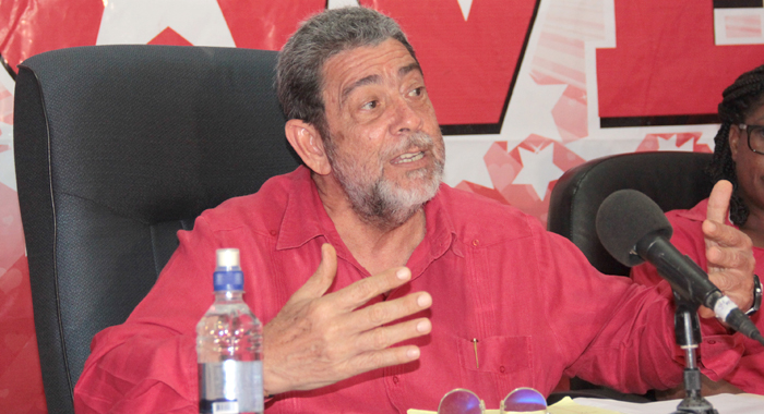 Prime Minister Dr. Ralph Gonsalves addresses the ULP press conference on Monday. (IWN photo)