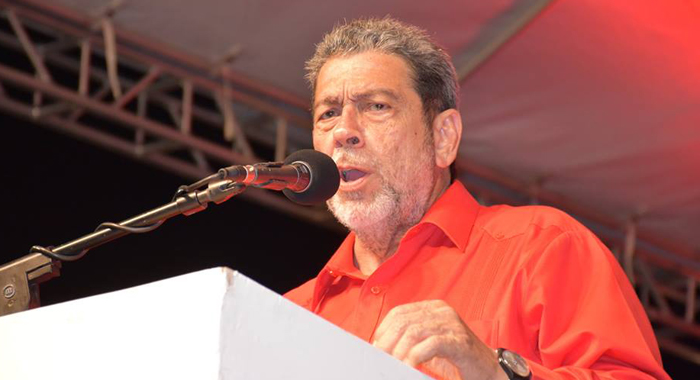 Prime Minister Dr. Ralph Gonsalves addresses the ULP rally in Arnos Vale on Saturday. (Photo: Anthony Dennies/Facebook)