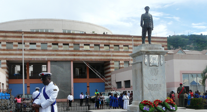 The parade was held at the Cenotaph in Kingstown. (Police photo)