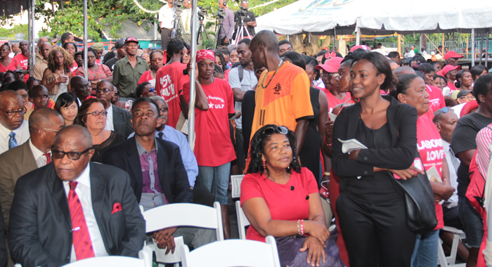 A number of persons wore ULP campaign t-shirts to the ceremony. (IWN photos)