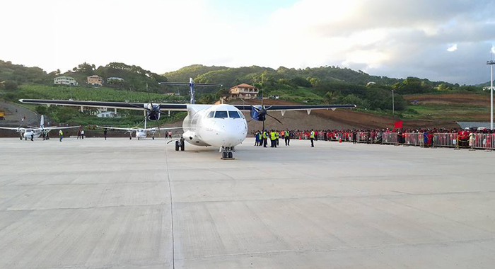 A LIAT aircraft landed at Argyle on Sunday as part of the ULP rally there. (Photo: Lance Neverson/Facebook)
