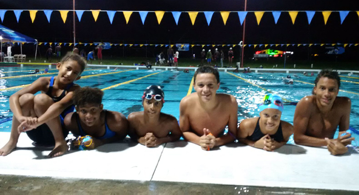 The six Vincentian swimmers in Barbados.