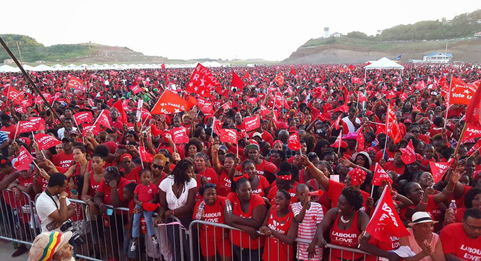 A section of the crowd at the ULP rally at Argyle on Sunday. (Photo: Lance Neverson/Facebook)