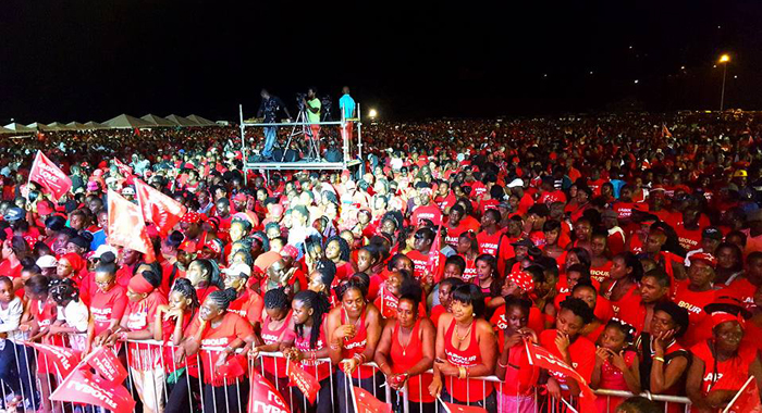A section of the audience at the ULP rally in Argyle Saturday night. (Photo: Lance Neverson/Facebook)
