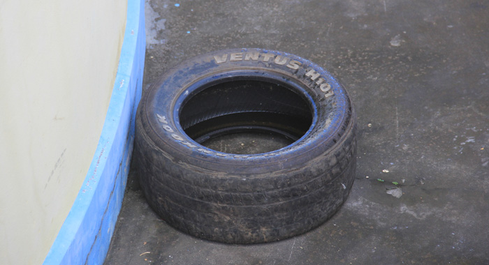 Water has been collecting in the tyres at Questelles Police Station. (IWN photo)