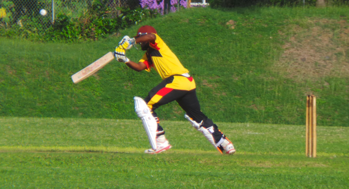 Sunil Ambris drives through the offside in his 12-ball blitz.