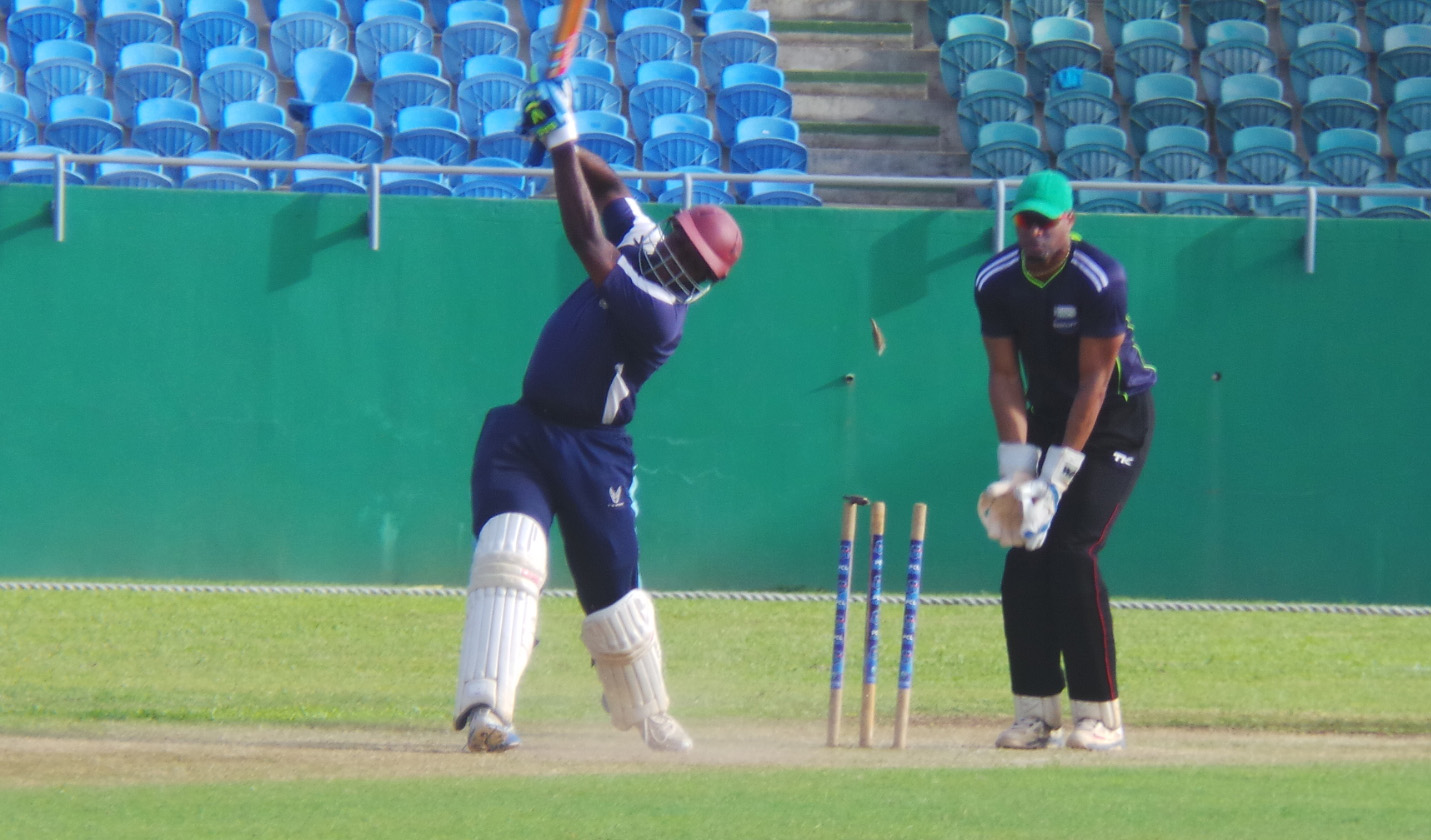 McCleon Williams of Police bowled by Dyke Cato.
