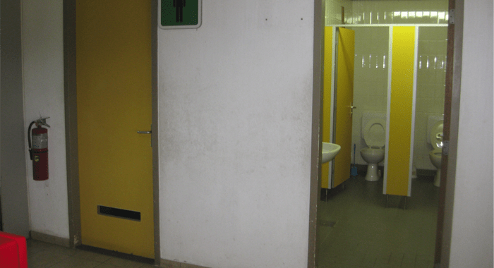 The single unisex working washroom at James F. Mitchell Airport.
