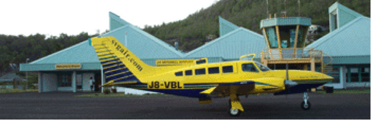 A 10-seat Cessna lands at James Mitchell Airport in Bequia.