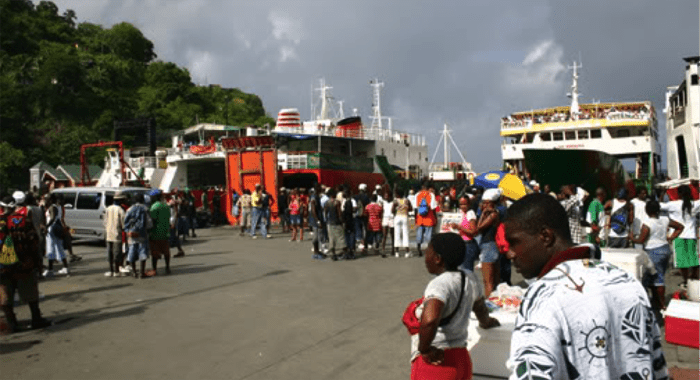 Bustling Grenadines wharf, Kingstown, next to the chronically deserted cruise ship terminal.
