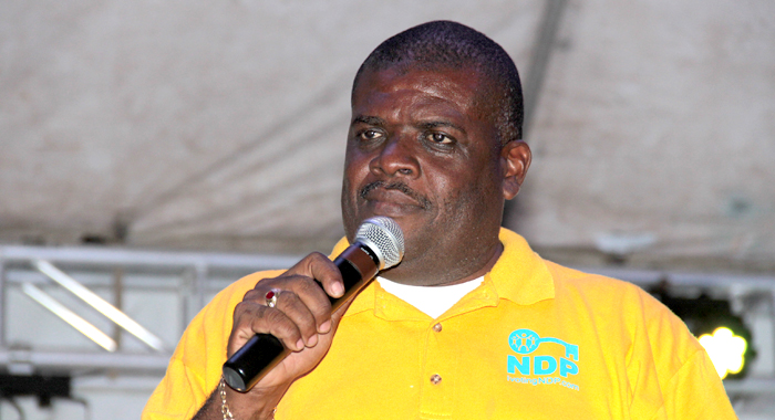 "MP for North Leeward, Roland ""Patel"" Matthews speaking at the NDP's rally in Layou on Saturday. (IWN photo)"