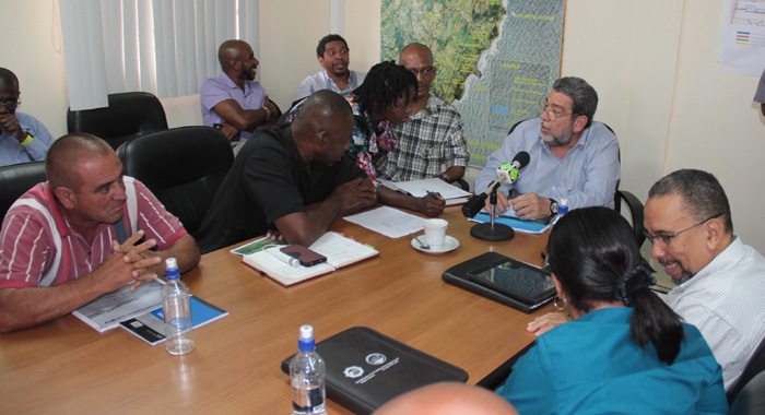 Prime Minister Ralph Gonsalves met Friday with stakeholders in the Argyle International Airport. (IWN photo)