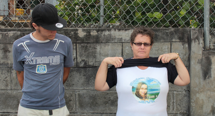 Greaves' mother, Inether Bailey-Holder, wore under her blouse on Friday a t-shirt that had been printed in her daughter's honour. (IWN photo)