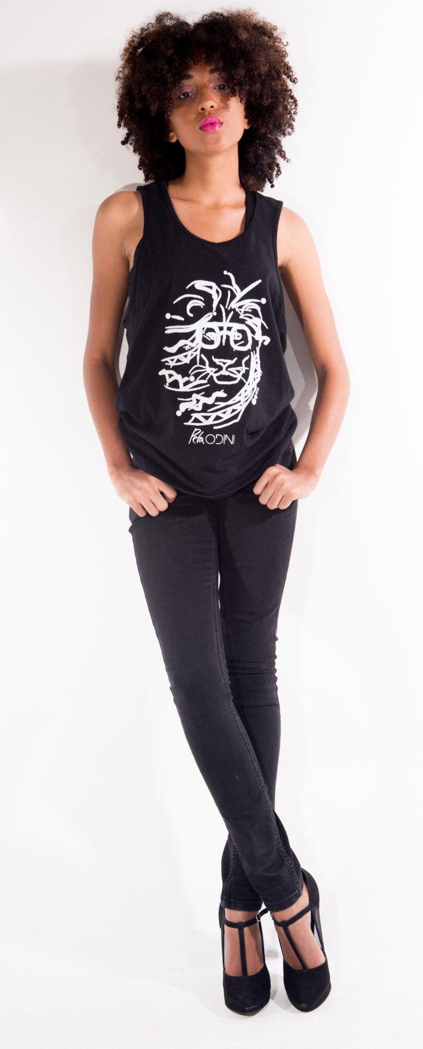 Model wears Peta Odini Rasta Lion tank now availble online