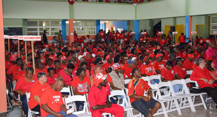 """A section of the audience at the ULP's convention on Sunday. (Photo: Duggie """"Nose"""" Joseph)"""