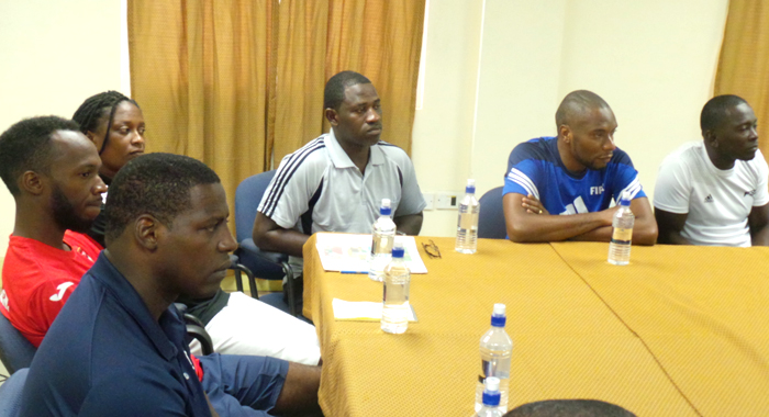 Some of the coaches at the training programme in SVG.