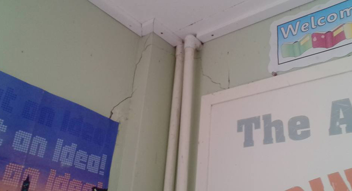 A crack in the school building. (Photo: Facebook)