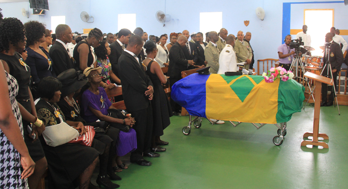 The casket was draped in the National Flag of St. Vincent and the Grenadines. (IWN photo)
