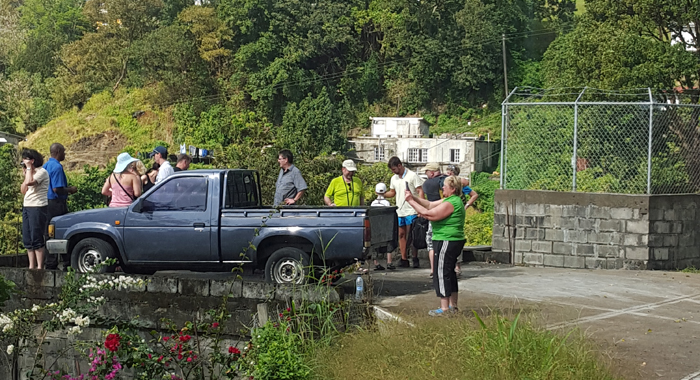 "Visitors and a guide at the ""Kingstown Lookout"" at Grand Gate. (Photo: Patrick Ferrari)"