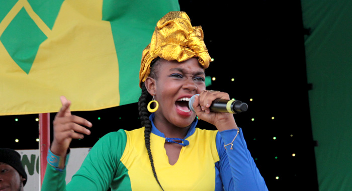Kristianna Christopher perform in the Secondary School calypso competition. (IWN photo)