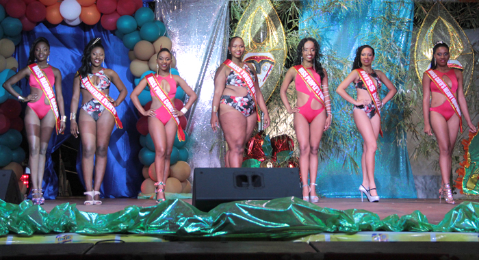 Miss P'tani 2016 contestants in Swimwear. From left: Wenique Walker -- Miss Reddog Garage, Keishell Robertson -- Miss Fanfare Events, Stacy Payne -- Miss Prime Consulting, Zakiyah Mofford -- Miss Touch of Pearl, Lourie John -- Miss People's Pharmacy, Regisha Hazell -- Miss Dazzle, Antoria Cumberbatch -- Miss Cato's Heavy Equipment. (IWN photo)