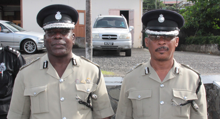 Commissioner Charles, left, and his deputy, Reynold Hadaway, after Thursday's parade. (IWN photo)