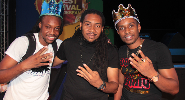 Artiste, Chewalee, left, and Hypa 4000, right and their producer, Lester Iroha. (IWN photo)