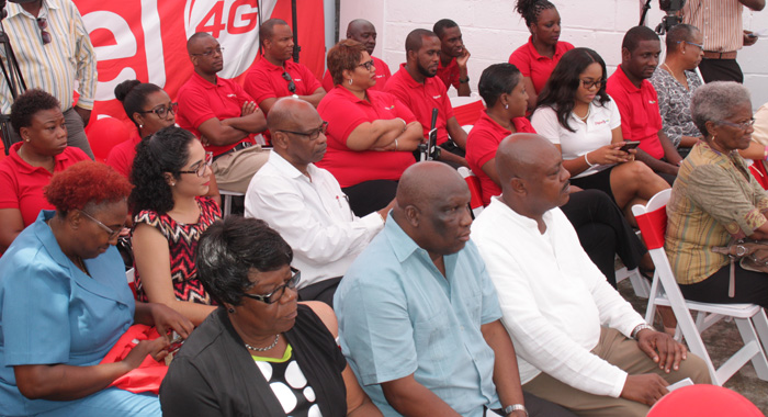 Former MP for Marriaqua, Girlyn Miguel, left, MP for Marriaqua, Jimmy Prince, centre, and Minister of National Mobilisation, Frederick Stephenson, and Digicel staff members at the event. (IWN photo)