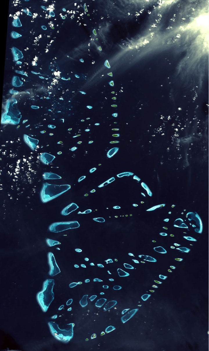 The twin-atolls of the Maldives.