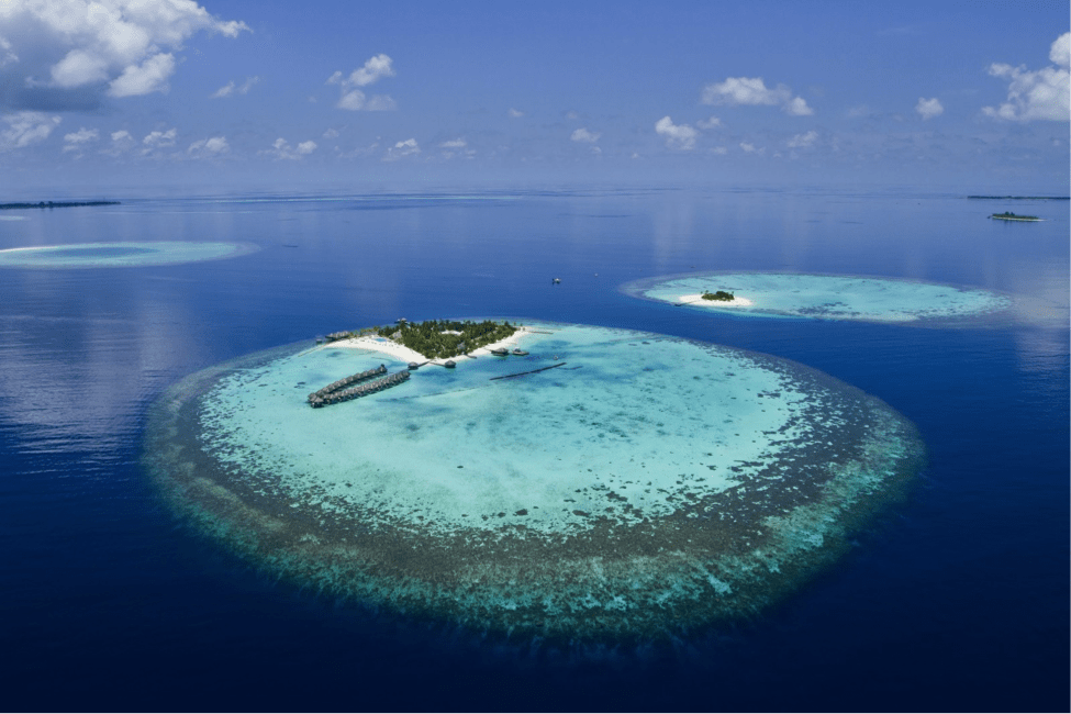 Another Maldives island resort and surrounding atoll.