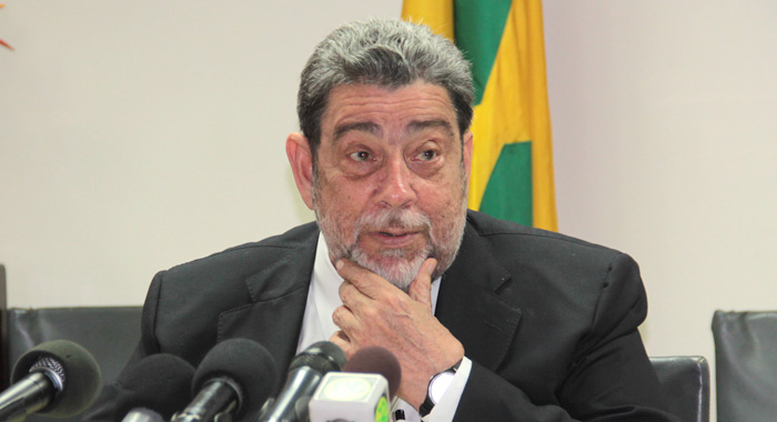Prime Minister Dr. Ralph Gonsalves speaking at Tuesday's press conference. (IWN photo)