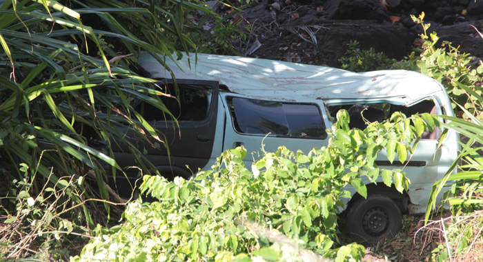 A close-up photo of the minivan after the accident. (IWN photo)