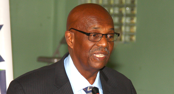 Opposition Leader Arnhim Eustace speaks at Monday's press conference. (IWN photo)