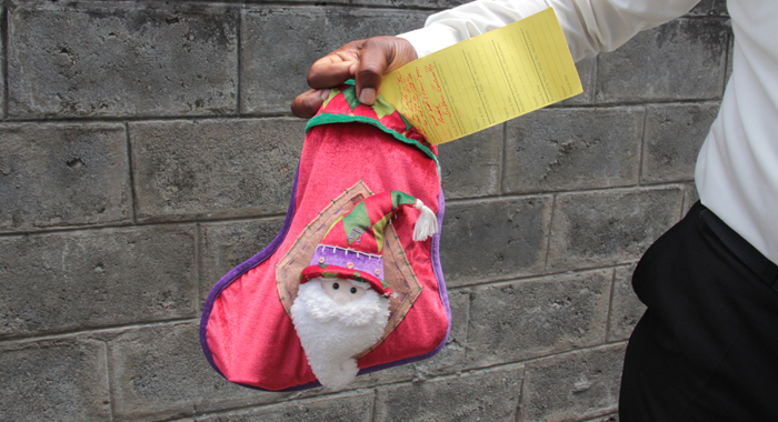 The Christmas stocking in which the gun and ammunition was found. (IWN photo)