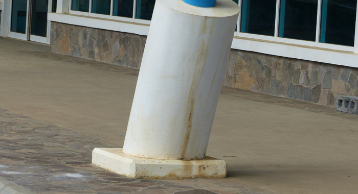 A column at the terminal building of the Argyle International Airport.